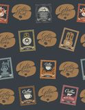 Seamless pattern on coffee theme with postmarks Royalty Free Stock Photos