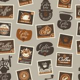 Vector seamless pattern with postage stamps and other coffee symbols on coffee and coffeehouse theme in retro style on beige stock illustration