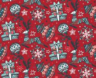 Vector seamless pattern with presents, stars and Christmas trees. Vector seamless pattern with hand drawn ornate presents, stars and Christmas trees on white Royalty Free Stock Photos