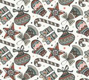 Vector seamless pattern with presents, stars and Christmas trees. Vector seamless pattern with hand drawn ornate presents, stars and Christmas trees on white Stock Photos