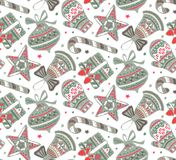Vector seamless pattern with presents, stars and Christmas trees Royalty Free Stock Photography