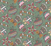 Vector seamless pattern with presents, stars and Christmas trees Stock Image