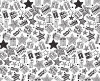 Vector seamless pattern with presents, stars and Christmas trees Royalty Free Stock Photo