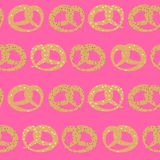 Vector seamless pattern of pretzels with sesame, salt and poppy seeds on pink background vector illustration