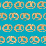 Vector seamless pattern of pretzels with sesame, salt and poppy seeds on sky blue background royalty free illustration