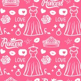 Vector Seamless pattern Princess style. Hand drawing dress with diadem, inscription, rose kiss and shoe. Pink Girly surface design royalty free illustration