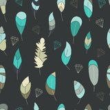 Vector seamless pattern,print with blue,green,turquise feathers and contours of crystals,diamonds,stones,gems. royalty free illustration