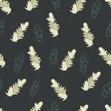 Vector seamless pattern,print,texture with feathers on the dark background stock illustration