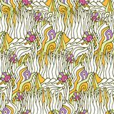 Vector seamless pattern with psychedelic doodle ornament Royalty Free Illustration