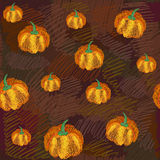 Vector seamless pattern with pumpkins Stock Images