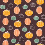 Vector seamless pattern with pumpkins. Hand drawn colorful illustration. Happy Halloween Stock Photography