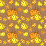 Vector seamless pattern with pumpkins Royalty Free Stock Photo