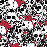 Vector seamless pattern.  Punk rock abstract background. Vector seamles pattern. Crazy punk rock abstract background. Skulls Stock Images