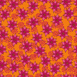 Vector seamless pattern with purple flowers Royalty Free Stock Image