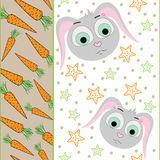 Vector seamless pattern with rabbit and carrot illustration. Stock Photography