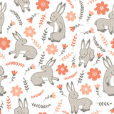 Vector seamless pattern with rabbits Royalty Free Stock Photography