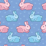 Vector seamless pattern with rabbits and hearts Royalty Free Stock Photography