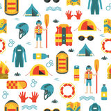 Vector seamless pattern with rafting and camping equipment. Vector seamless pattern with colorful rafting and camping equipment on white isolated background Stock Photography