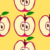 Vector seamless pattern with red apples Stock Images