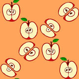 Vector seamless pattern with red apples Stock Photos