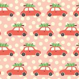 Vector seamless pattern with red car and christmas tree on the roof. Vintage Christmas background with retro cars and Christmas. Decoration on pink and beige stock illustration