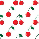 Vector seamless pattern with red cherry Royalty Free Stock Photo