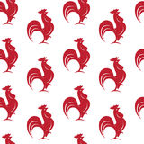 Vector seamless pattern with red cock Stock Photo