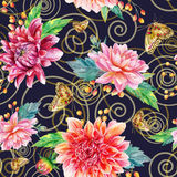 Vector seamless pattern with red dahlia. Royalty Free Stock Images