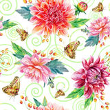 Vector seamless pattern with red dahlia. Royalty Free Stock Photos