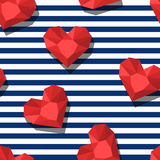 Vector seamless pattern with red gem stones in heart shape and blue stripes. 3d stylized hearts and diamonds. Abstract background. Design for fashion textile Stock Images