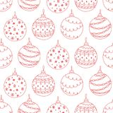 Vector seamless pattern of red hand drawn Christmas tree ball Royalty Free Stock Image