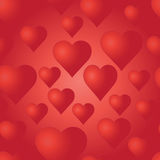 Vector seamless pattern with red hearts. Bright background. Stock Images
