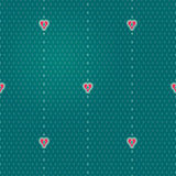 Vector seamless pattern with red hearts. Vertical design element in Eastern style. Simple spotted ornament for wallpaper. Turquoise bright background Stock Photography