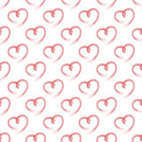 Vector seamless pattern of red hearts on white background. Royalty Free Stock Images