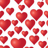 Vector seamless pattern with red hearts on the white background. Royalty Free Stock Image