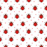 Vector seamless pattern with red ladybug. vector illustration