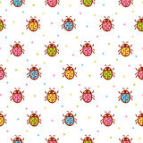 Vector seamless pattern with red ladybug. royalty free illustration