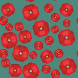 Vector seamless pattern with red poppies on color background 599. Vector seamless pattern with the red poppies on color background 599 Royalty Free Stock Images