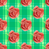 Vector seamless pattern with red roses. Flowers and green leaves on a green background Stock Photo