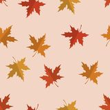 Vector seamless pattern with red, yellow and orange maple leaves. Colors of autumn nature for your design. Vector seamless pattern with red, yellow and orange stock illustration