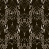 Vector seamless pattern repeating texture. Stylish wavy monochro Royalty Free Stock Images