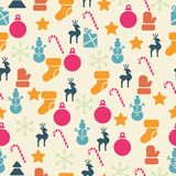 Vector seamless pattern with retro Christmas icons Stock Photos