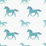 Vector seamless pattern with retro colored horses. On dotted background Royalty Free Stock Photography