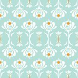 Vector seamless pattern with retro style flowers. Floral lace background. Vector seamless pattern with minimalistic florals in retro style. Lace floral Stock Photo