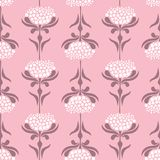 Vector seamless pattern with retro style flowers on pink background. Floral lace background vector illustration