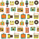 Vector Seamless Pattern with Retro technology Stock Photos