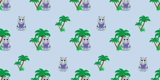 Vector seamless pattern with rhino and palm trees. Illustration of a cartoon rhino. Cartoon print. Vector textile fabric print Royalty Free Stock Photos