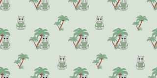 Vector seamless pattern with rhino and palm trees. Illustration of a cartoon rhino. Cute print. Design for kids t-shirt Stock Photos