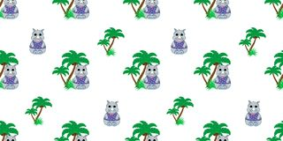 Vector seamless pattern with rhino and palm trees. Illustration of a cartoon rhino. Cute print. Scrapbook paper, wrapping paper Stock Photo