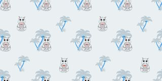 Vector seamless pattern with rhino and palm trees. Illustration of a cartoon rhino. Cartoon print. Print for textiles Stock Photos